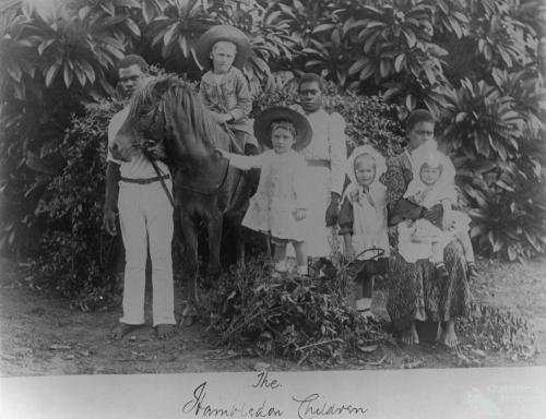 White children and Pacific Islander attendants, Hambledon Sugar Plantation, c1891