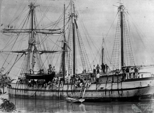 South Sea Islanders arriving in Bundaberg by ship, c1893