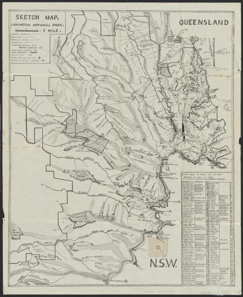 Sketch map, Lamington National Park, c1940s