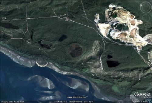 Sand-slide Stradbroke Island that occurred in 1980, Google map, 2010