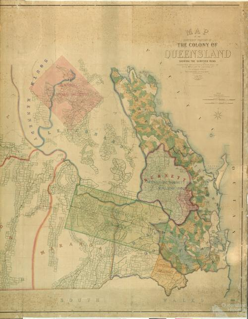 Map of the southern portion of the colony of Queensland showing the surveyed runs, 1872