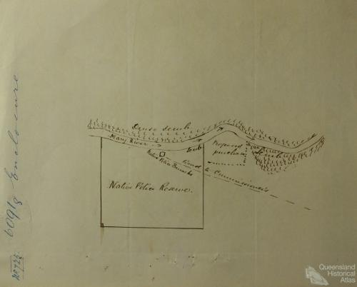 Native Police Barracks and Reserve, Mary River, 1860