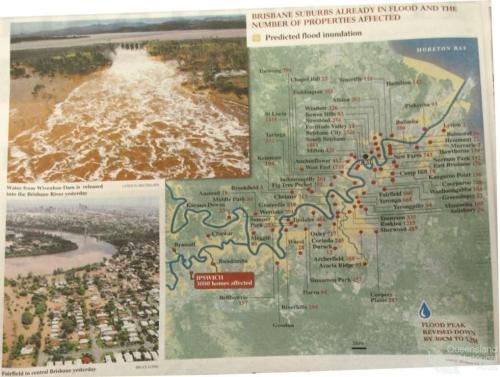 Brisbane suburbs already in flood and the number of properties already affected, 2011