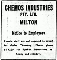 Advertisements to employees after Brisbane flood, 1974