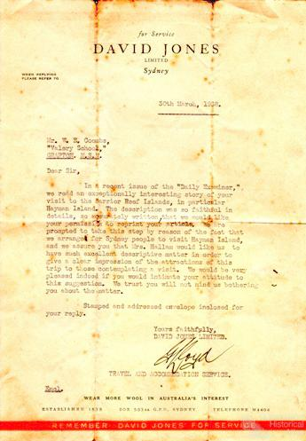 Letter from David Jones to William Coombs, 1938