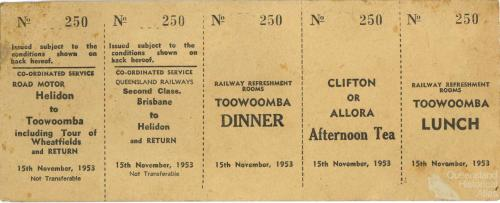 Railway excursion tickets, Toowoomba and Clifton, 1953
