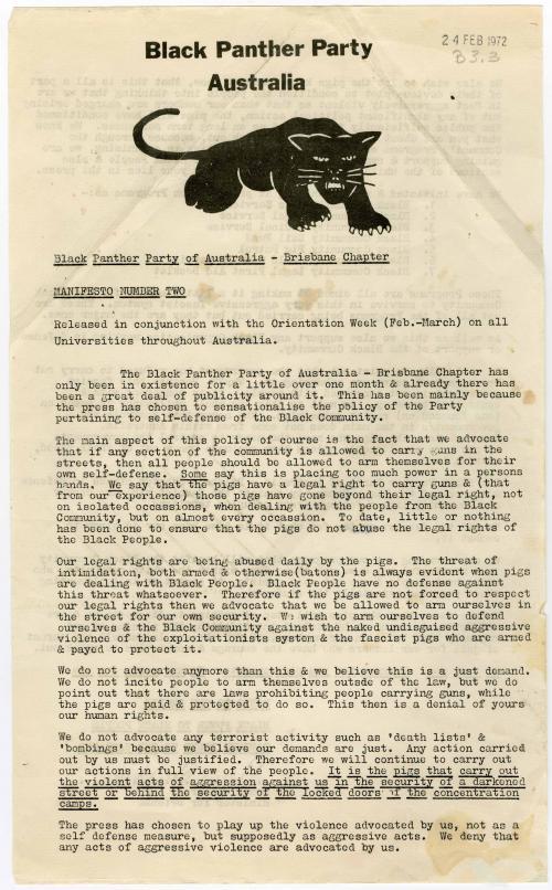 Black Panther Party, Brisbane, Manifesto 1972
