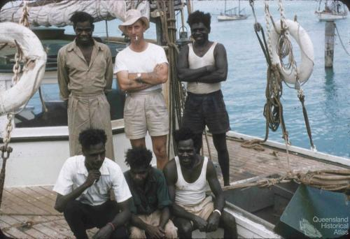 Pearling lugger with skipper and crew, Thursday Island, 1958