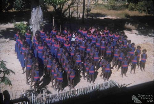 Girls on parade for church, Aurukun