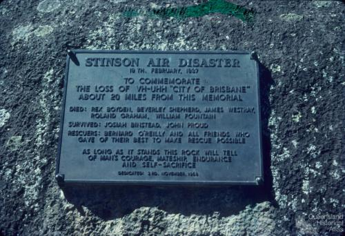 Plaque, 1937 Stinson Air Disaster, 1978