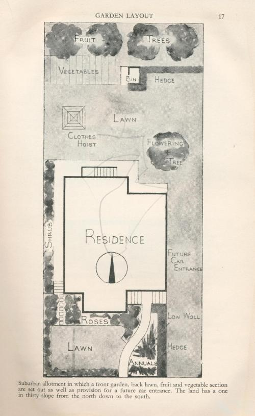Garden layout with flowering trees, 1960