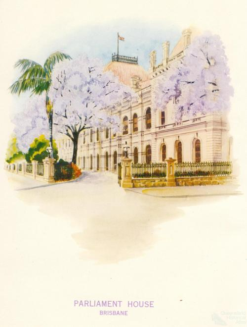 Jacarandas outside Parliament House, Brisbane, 1962