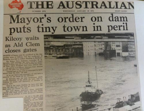 Mayor's order on dam puts tiny town in peril, The Australian, 30 January 1974
