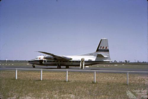 TAA Fokker Friendship aircraft at Roma Airport, 1965