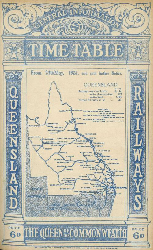 Cover of Queensland Railways Public Timetable, 1925