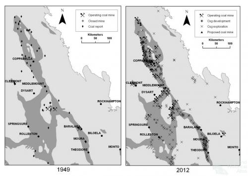 Coal and gas in the Bowen Basin, 1949 and 2012