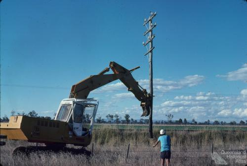 Redundant telephone pole, Chinchilla Shire, 1979