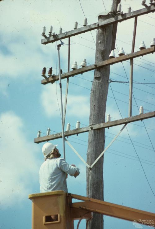 Redundant telephone wires, Chinchilla Shire, 1979