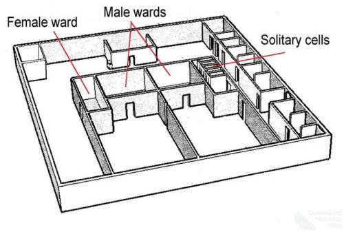 Plan of communal wards, Queens Street gaol, Brisbane, 1850s