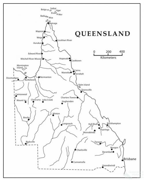 Map of Queensland indicating Aboriginal ration depots, compounds, missions and government settlements, 1890s-1940s, 2003