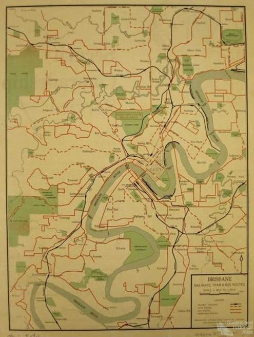 Brisbane, railways, tram and bus routes, 1947