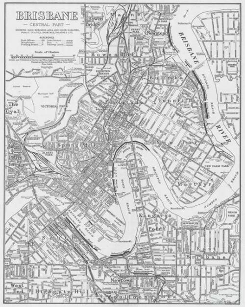 Brisbane, central part, 1951