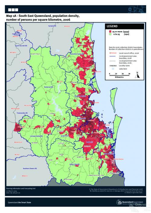 South East Queensland population density 2006