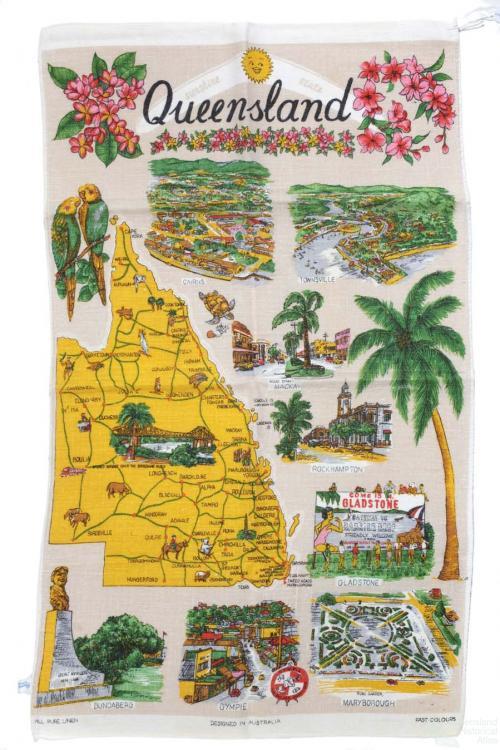 Tea-towel: Map of Queensland, c1950s