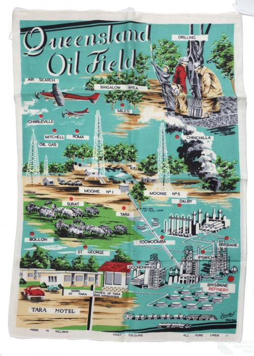 Tea-towel: Queensland Oil Field