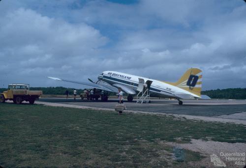 Air Queensland DC3 at Lockhart River airstrip, 1982