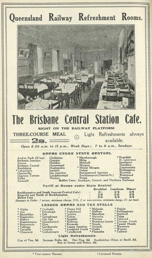 Advertisement showing list of Refreshment Rooms, Queensland, 1925