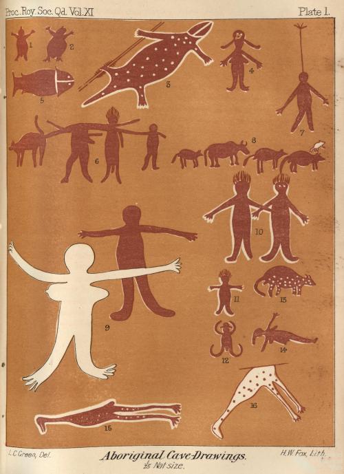 Aboriginal cave drawings, 1895