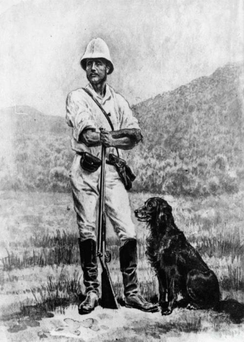 Norwegian naturalist and explorer Carl Lumholtz and his dog, c1882