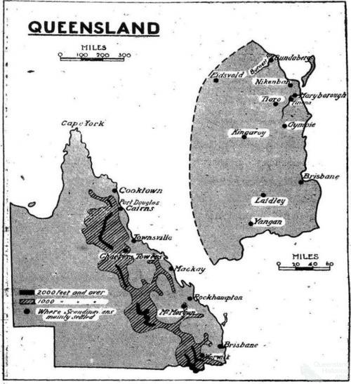 Major settlements of Scandinavians in 19th century Queensland