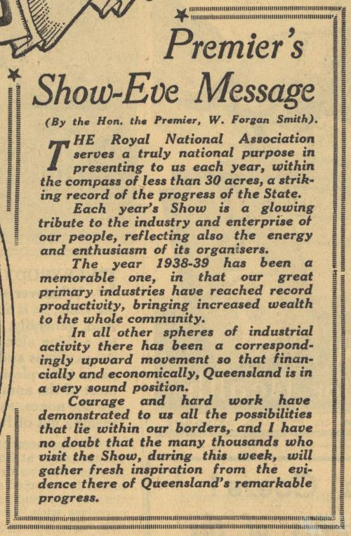 Premier Forgan Smith's show-eve message, 1939