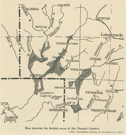 Map showing the flooded areas of the Channel Country, Walkabout, January 1952
