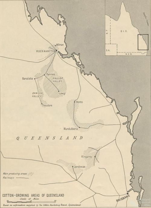 Cotton growing areas of Queensland, 1956