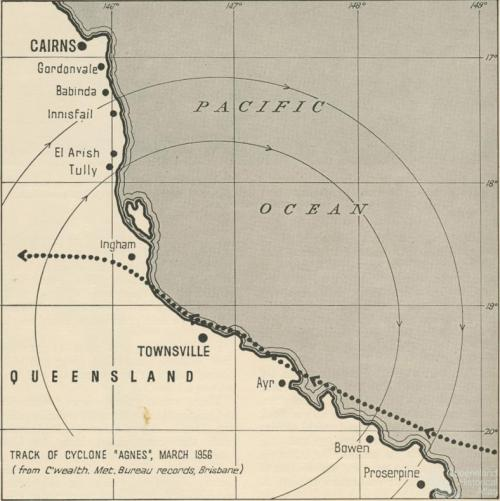 Track of Cyclone Agnes, March 1956
