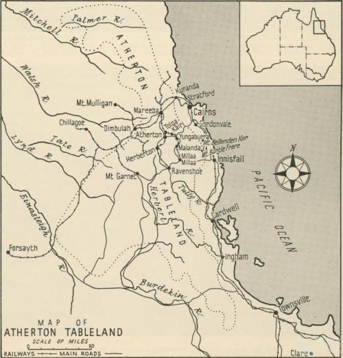 Map of Atherton Tableland, 1958