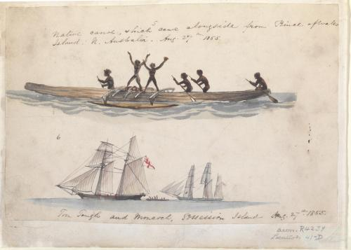 Native canoe and Possession Island, 1855