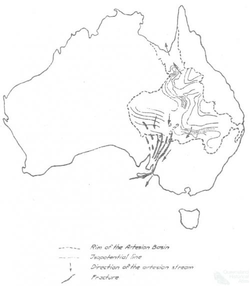 Map of the artesian basin depicting southern outlet, 1920