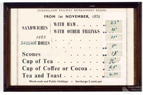 Queensland Railway Refreshment Rooms price list, 1972