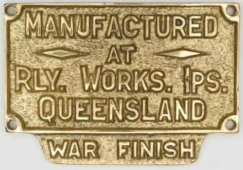 Builder's plate, Ipswich Railway Works, c1945