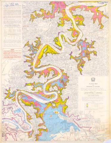 Brisbane flood map, 1974
