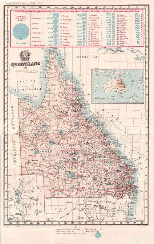 Queensland areas surveyed and mapped, 1915