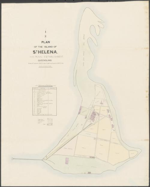 Plan of the island of St Helena, HM Penal Establishment, Queensland, 1887
