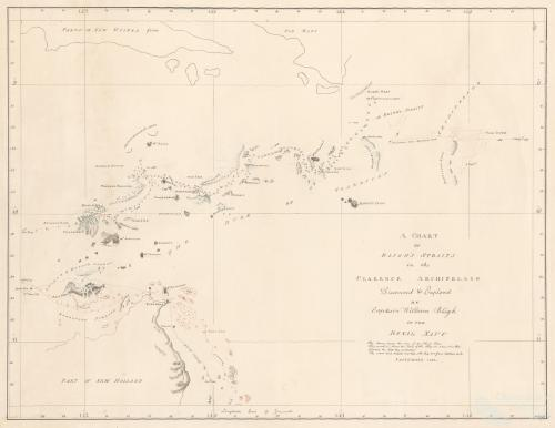 A Chart of Bligh's Straits in the Clarence Archipelago discovered and explored by William Bligh of the Royal Navy, September 1792