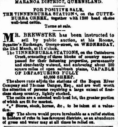 Tinnenburra land sales, 1864