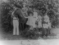 White children and Pacific Islander attendants, Hambledon Sugar Plantation, c1891