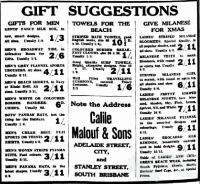 Advertisement Calile Malouf & Sons, 1933